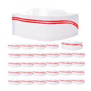 Disposable Paper Chef Hat with Red Strips (100 pcs)