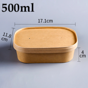 Kraft Paper Rectangular Takeout Food Containers with paper cover (300 sets)