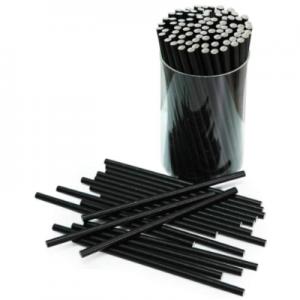 Biodegradable Black Paper Straws – Short 145mm