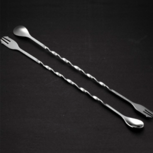 31cm Stainless Steel Cocktail Stirrers, Spiral Pattern Stirring Spoon Fork (Pack of 4)