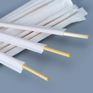 Wheat Straw Drinking Straws Sustainable & Biodegradable Individual Paper Wrapped