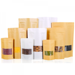 Kraft Paper with Window and Zip Lock (Pack of 200 pcs)