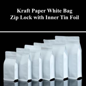 Kraft Paper White Bag Zip Lock with Inner Tin Foil (Pack of 200 pcs)