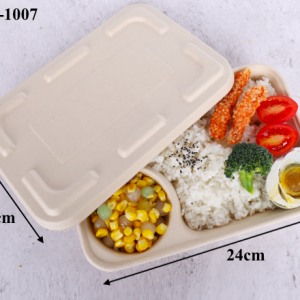 Wheat Straw Fiber Takeout Container 2-Compartment with Paper Cover (Pack of 500 sets)