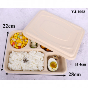 Wheat Straw Fiber Takeout Container 5-Compartment 1000ML with Paper Cover (Pack of 200 sets)