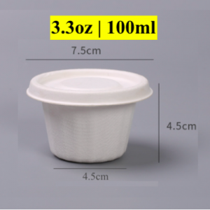 3.3OZ Condiment Wheat Straw Pulp Cup with Paper Lid (1000 pcs)