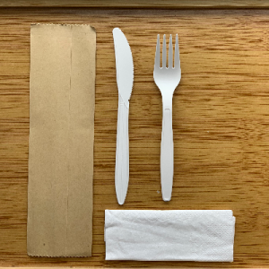 Biodegradable Corn Starch Cutlery Set Include Fork, Knife, Napkin and Kraft Paper Package(1000 sets)